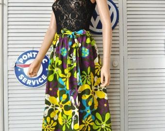 Vintage Mod Floral Maxi Skirt/60s 70s Womens Elastic Waist Button Front/Linen Barkcloth/Yellow Green Purple Hawaiian/Medium Mod Costume
