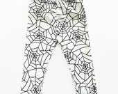Spider Web Leggings Harems Halloween Organic Cotton Black Monochrome Unisex