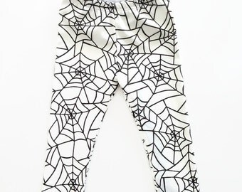 Spider Web Leggings Harems Halloween Organic Cotton Black Monochrome Unisex
