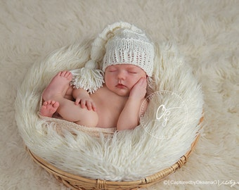 Newborn Baby Stocking Hat,  Baby Longtale Hat, Cream Stocking Hat, Great for Photo Props, Holiday Photo Props. Cream with PomPom.