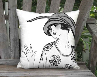 Small Pillow - Myosotis Blue French Fashion in Black and White Pillow Cover - 12x 14x Inch Linen Cotton Cushion Cover