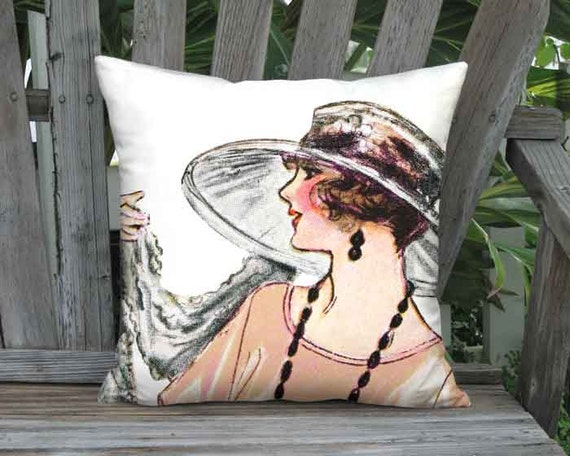 Melon French Fashion Pillow Cover -   French 1920s Fashion Hat Pillow - 16x 18x 20x 22x 24x 26x 28x Inch Linen Cotton Cushion Cover