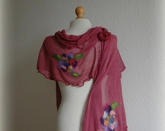 Natural LINEN Shawl Powder Pink Knitted linen With Unique Felt Flower Appliques Gift Eco friendly Clothing Women Scarf