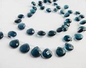 10pcs Teal blue , faceted ,heart glass  briolette beads (12x12mm), london blue