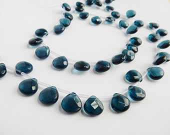 10pcs Teal blue , faceted ,heart glass  briolette beads (12x12mm), london blue