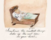 Sometimes the smallest things - baby original watercolor art print 5x7 or 8x10.