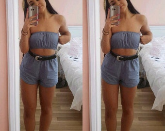 Denim pastel blue cotton matching set festival set fashion twin set crop tube top high waisted shorts
