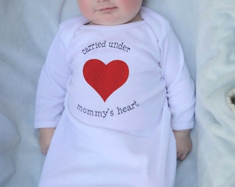 Gender neutral baby gifts, first Mother's Day gift, white Mommy's Heart baby gown, newborn baby gifts, ready to ship