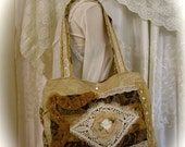Shabby Embellished Tote, natural rustic earthy, handmade unique OOAK, lace doily beads, hippie tote bag, beach bag, double strap bag