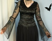 Vintage 90s Womens Morbid Threads Drama Drape Sleeve Goth Brocade Top Size Medium