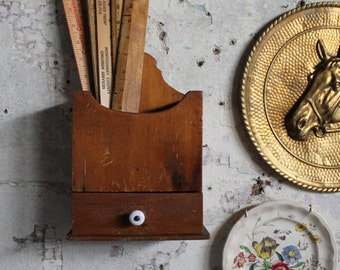 Vintage Wooden Catchall with Drawer