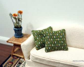Green ovals abstract pillows - set of 2 - dollhouse miniature