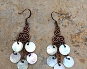 Copper Capiz Shell Chandelier Earrings