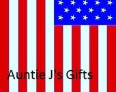 "CROCHET GRAPH PATTERN, American flag for afghan, 50""x95"""