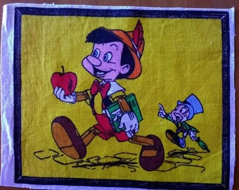 Vintage Disney, Pinocchio, Fabric,Panel, Quilting, Sewing, Craft, Book Panel