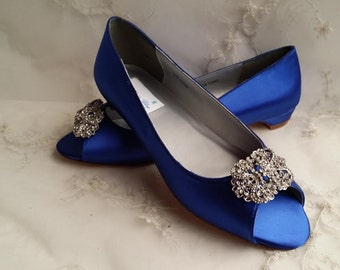 Blue Wedding Shoes with a Crystal Rectangle Brooch Blue Bridal Shoes Blue Bridesmaid Shoes - Over 100 Colors To Pick From