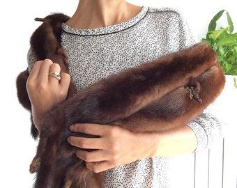 Lux Vintage Mink Fur Stole Wrap - 30's Mink Stole Full Body - Vintage Mink Fur Stole - Mink shrug - Winter Essentials - Christmas gift idea