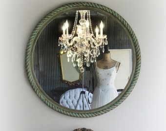 R O U N D, Nautical Shabby Chic Mirror French Country Nursery Vanity