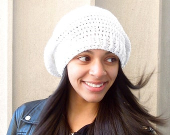 Crochet Slouchy Hat, Women, Men, Teen, Slouch Hat, Tam,  Adult, White, Ribbed