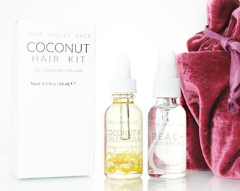Coconut Hair Set | Mother's Day Gift, Gifts for Mom | Coconut Hair Oil + Beach Hair Perfume | 100% natural and vegan hair set