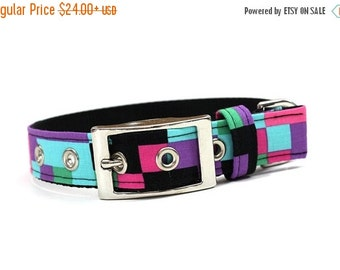 ON SALE Pink, Purple, Blue, and Black Pixelated Dog Collar with Metal Buckle