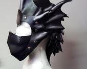 Dragon Helm, Mask, Helmet- Costume, Leather Armor, Custom Leather, LARP, Cosplay, Renaissance Fair, Burning Man