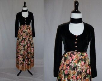 60s Maxi Dress - Black Velvet Bodice - Long Floral Butterfly Skirt - Vintage 1960s - XS
