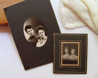 Vintage Photographs Two Sisters Women Friends Portrait Pictures Daughters Young Girls Antique Photo Cabinet Card Black White Photography Art