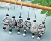 Knitting Stitch Markers, Zebra Stone Semi-Precious Stones, Large Size, Snag Free, Knitting Tool, Knitting Accessory, Handmade, Knitters Gift