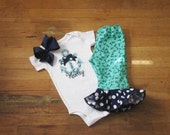 Navy Mint Anchor Bow Polka Dot Nautical Girls Applique Shirt Matching hairbow Ruffled Ruffle Bottom Boutique Pants Set Newborn girls toddler
