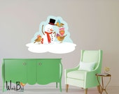 Frosty the Snowman Christmas Decoration Reusable Wall Decal Sticker - Holiday Decor