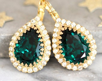 Emerald Swarovski Earrings,Swarovski Emerald Drop Earrings,Bridesmaids Emerald Earrings,Emerald Crystal Gold Earrings,Bridal Drop Earrings