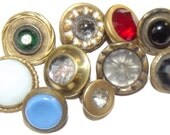 Antique  Buttons Waistcoat Glass in Metal assortment of 10