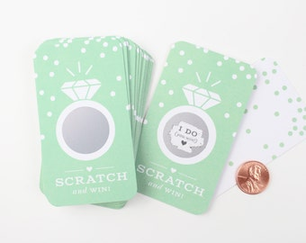 NEW! 24 Scratch-off Cards  // Bridal Shower Game, Scratch-off Game, Bridal Shower Activity, Bachelorette Party Games // Mint Green