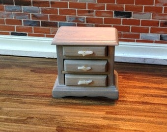Light grey/ stained nightstand with white faux coral handles Dollhouse Size