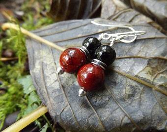 Red Quartz, Black Jasper Sterling Silver  Earrings  by Quintessential Arts