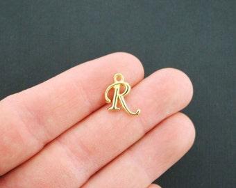 6 Letter R Charms Antique Gold Tone Cursive Script Initials - GC755