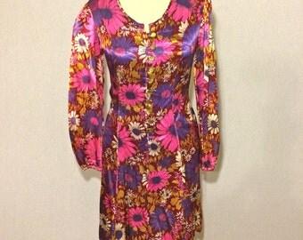 Vintage 60s Festival Dress Psychedelic Floral Print