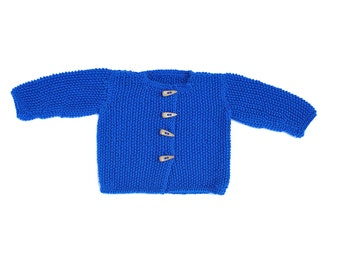 Newborn Baby  / Toddler Girls Boys Hand knitted merino Wool Cardigan Sweater royal blue, warm 0-3-6-9-12-18-24 months 2T 3T 4T 5T