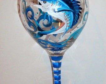 Sailfish Hand Painted Wine Glasses Fish One 20 oz. Glass Fathers Day Gift Birthday Jumping Sailfish Blue Ocean Fishing Bass Blue Fish