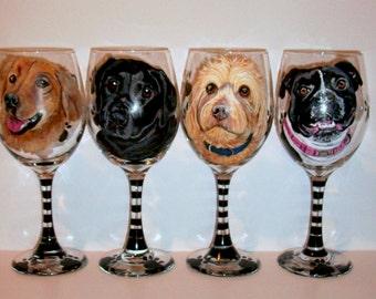 Pet Portraits Hand Painted Wine Glasses Custom Pet Portrait of Your Dog, Cat, Horse, Your Pet, Set of  4 - 20 oz. Wine Glasses