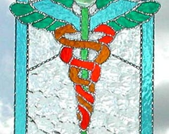 """Caduceus - Stained Glass Sun Catcher -Medical Symbol - Physician - Handcrafted Stained Glass Suncatcher -Gift for Doctor - 14"""" - 9756-AQ"""