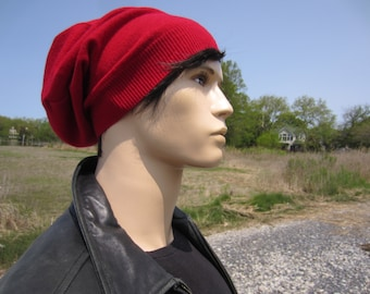 Red Cashmere Hat Men's Slouchy Beanie 100% Pure Cashmere Knit Slouch Tam Hipster Clothing 8 Colors A1717