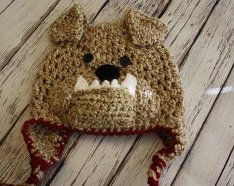 Baby Dog Hat -  Bulldog Mascot Hat - Baby Bulldog Hat - School Mascot hat - Baby Dog Hat - Soft Earflap Dog Hat - by JoJosBootique