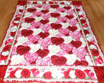 Valentine Rose Quilt,  Large Lap, Love, Red, White, Pink, fabric from Wilmington Prints