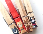 CAT CLOTHESPINS hand painted with magnets
