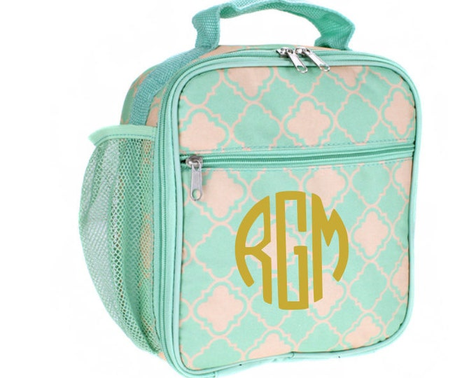 Teal and Coral Quatrefoil Monogrammed Lunch Bag, Kids Lunchbox, Insulated Cooler Tote, Personalized Name, Back to School, School Supplies