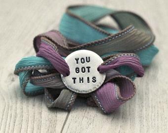 You Got This, Wrap Bracelet, Silk Wrap Bracelet, Silk Wraps, Boho Bracelet, Yoga Jewelry, Quote Bracelet, Yoga Bracelet,Inpsirational Quotes