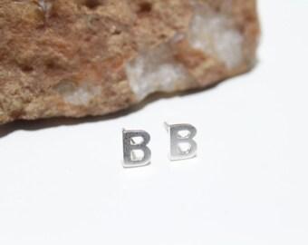 Initial Stud Earrings Small Letter B Stud Earrings Sterling Silver 925 Letter earrings. Alphabet earrings