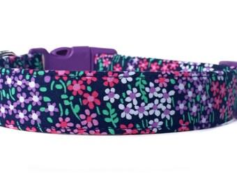 SALE Purple Dog Collar / Purple Flower Dog Collar / Flower Dog Collar / Girl Dog Collar / Floral Dog Collar / Purple Pink dog collar